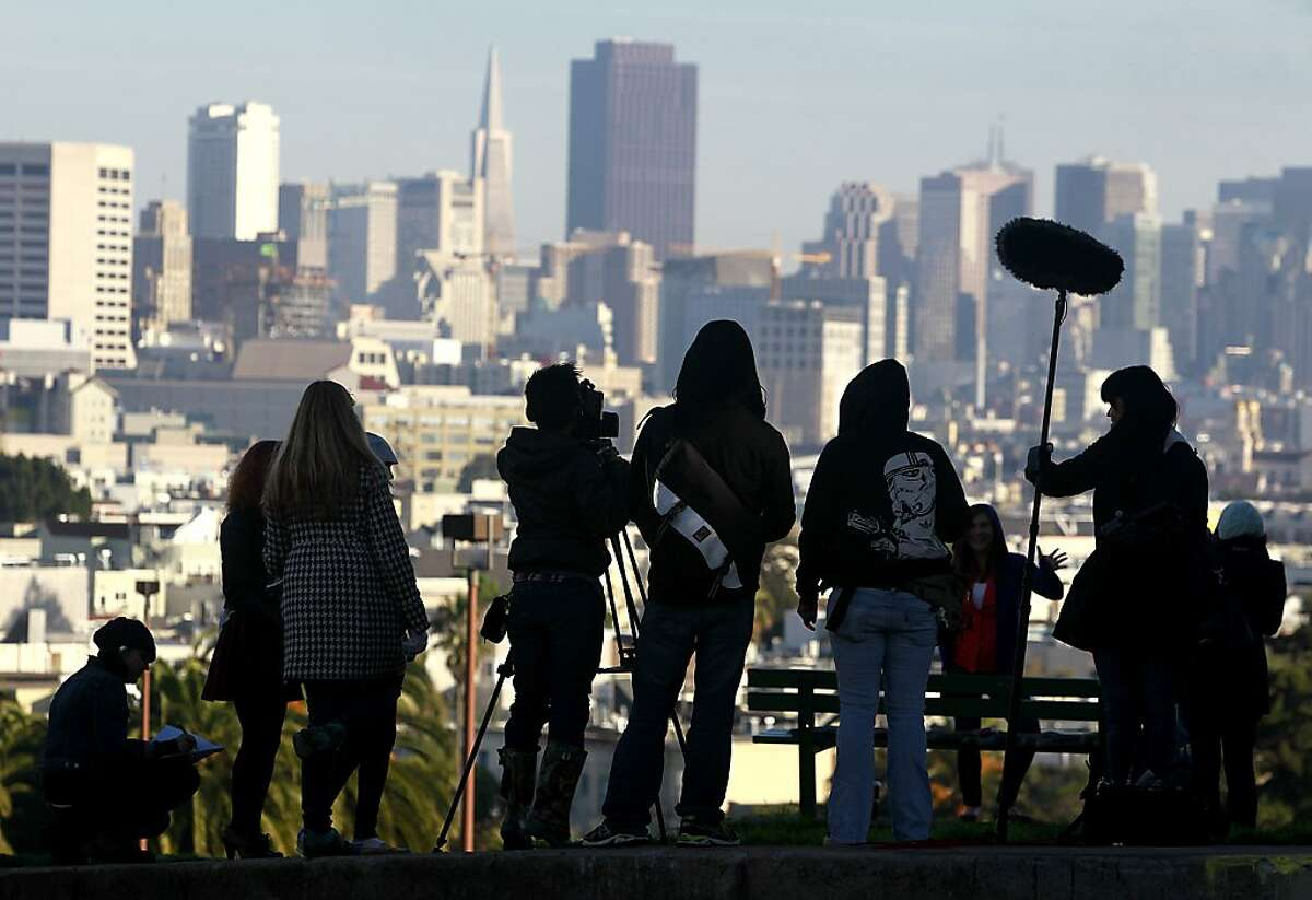 """A production crew films a scene for """"San Fran Land"""" at Dolores Park in San Francisco, Calif. on Saturday, Dec. 8, 2012."""