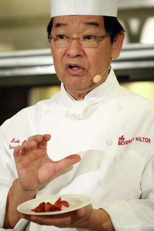 Beverly Hilton executive chef Suki Sugiura is seen during the menu preview for the 70th annual Golden Globe awards at the Beverly Hilton Hotel in Beverly Hills on Thursday. Photo: Matt Sayles/Invision/AP