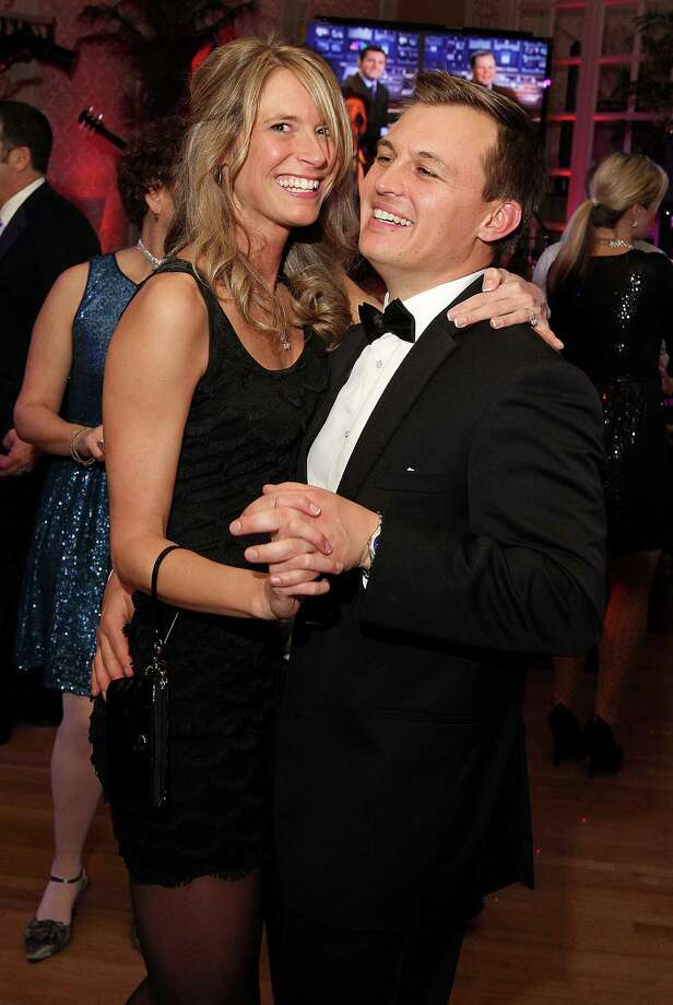 Troy, NY - December 31, 2012 - (Photo by Joe Putrock/Special to the Times Union) - Gala Co-Chair Luke Michaels(right) and his fiancee Catie Bauer(left) hit the dance floor during the 8th Annual Last Night New Year?s Eve Gala to benefit St. Peter?s Hospital Foundation. Photo: Joe Putrock