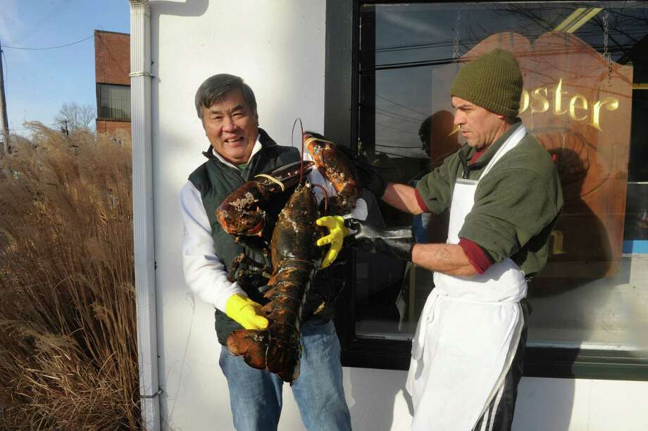 John Tung, owner of Lobster Bin, left, holds a 25-pound lobster with help from worker Aldo Candido at the store on Field Point Road in Greenwich, Conn., Thursday, Jan. 3, 2013. Tung plans to release the lobster back into the wild in the near future. Photo: Helen Neafsey / Greenwich Time