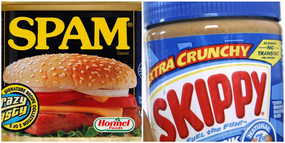 This combination of Associated Press file photos shows a can of Spam in Philadelphia on Aug. 16, 2010, left, and a 16.3 ounce jar of Skippy peanut butter in Somerville, Mass. on Aug. 26, 2008. Hormel Foods, the company primarily known for Spam and other cured, smoked and deli meats said Thursday, Jan. 3, 2013, that it's buying Skippy, the country's No. 2 peanut butter brand, in its biggest-ever acquisition. (AP Photo/File)
