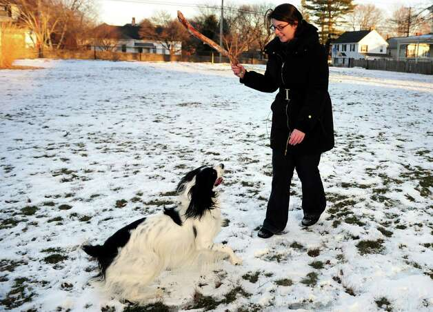 Kathryn Wisse, of Bridgeport, throws a stick to her dog, Dude, as they play at St. Ann's Field in Bridgeport, Conn. Thursday, Jan. 3, 2013. Photo: Autumn Driscoll / Connecticut Post