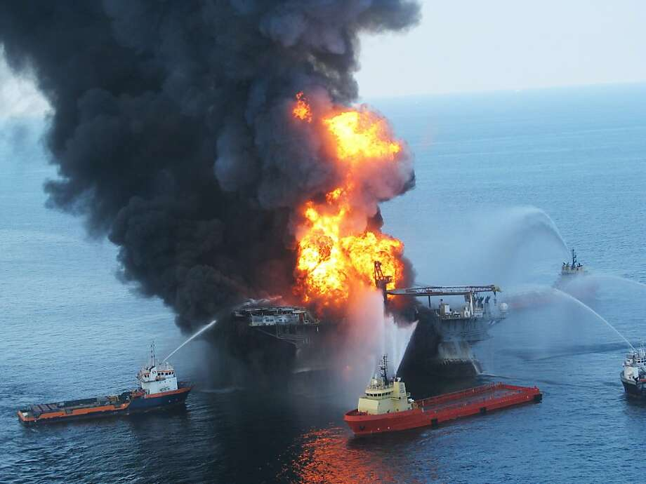 FILE - JANUARY 3: The U.S. Justice Department announced that Transocean, the owner of the  Deepwater Horizon oil rig, will pay $1.4 billion settlement,  $1 Billion in civil penalties and $400 Million in criminal fines,  for the oil spill in the Gulf of Mexico in 2010.  GULF OF MEXICO - APRIL 21:  Fire boats battle a fire at the off shore oil rig Deepwater Horizon April 21, 2010 in the Gulf of Mexico off the coast of Louisiana. Multiple Coast Guard helicopters, planes and cutters responded to rescue the Deepwater Horizons 126 person crew after an explosion and fire caused the crew to evacuate.  (Photo by U.S. Coast Guard via Getty Images) Photo: U.S. Coast Guard, Getty Images