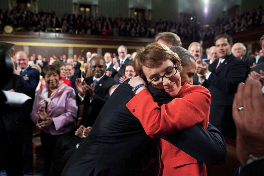 Jan. 24, 2012One of the most memorable moments of the year was when the President hugged Rep. Gabrielle Giffords as he walked onto the floor of the House Chamber at the U.S. Capitol to deliver his annual State of the Union address. (Official White House Photo by Pete Souza)