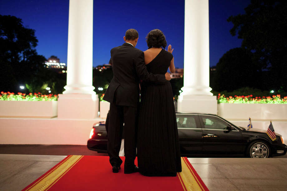 June 13, 2012There was still a little light left in the evening sky as the President and First Lady waved goodbye to President Shimon Peres of Israel following a dinner in his honor at the White House. (Official White House Photo by Pete Souza)