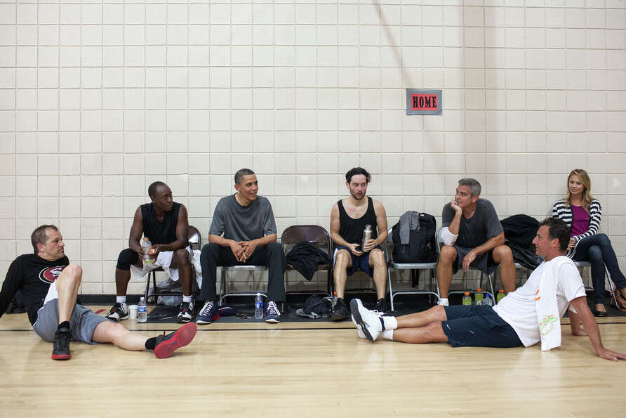 May 11, 2012After some early morning basketball in Los Angeles, the President talks with the pl