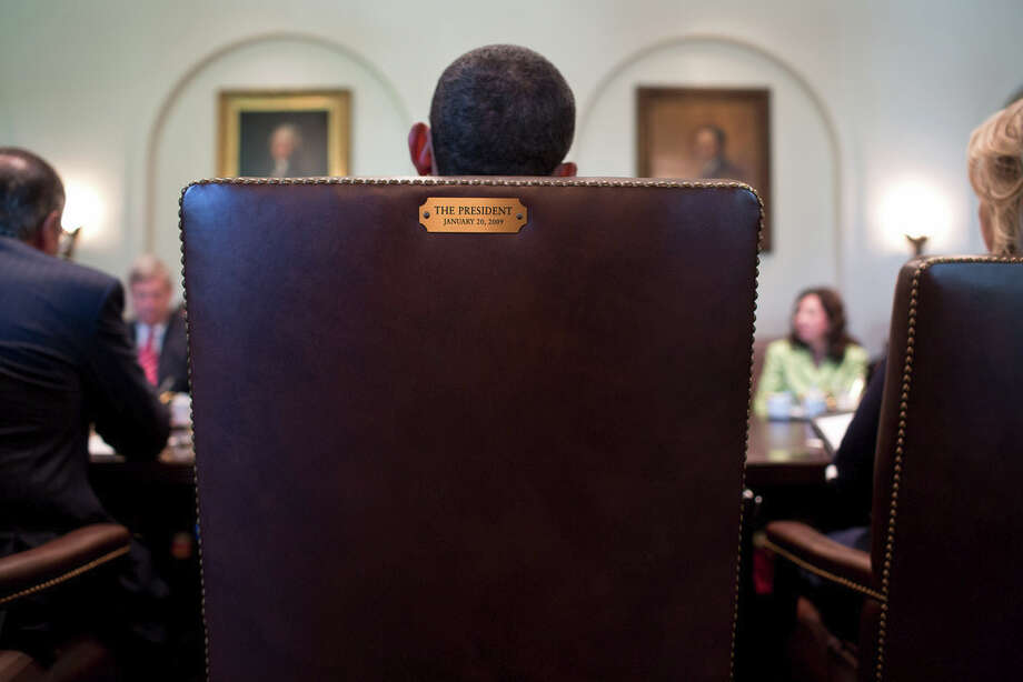 July 26, 2012A view from behind the President's chair during a Cabinet meeting in the Cabinet Room. (Official White House Photo by Pete Souza)
