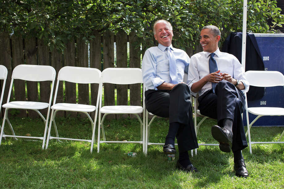 Sept. 7, 2012The President and Vice President share a laugh before a campaign rally together in Portsmouth, N.H.(Official White House Photo by Pete Souza)