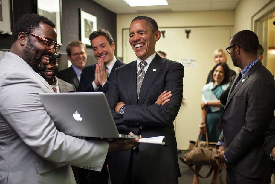 April 24, 2012We were backstage at the University of North Carolina in Chapel Hill for the President's appearance on 'Late Night with Jimmy Fallon.' The President let out a big laugh as he was being briefed by the producers and Mr. Fallon on the 'Slow Jam the News' segment. (Official White House Photo by Pete Souza)