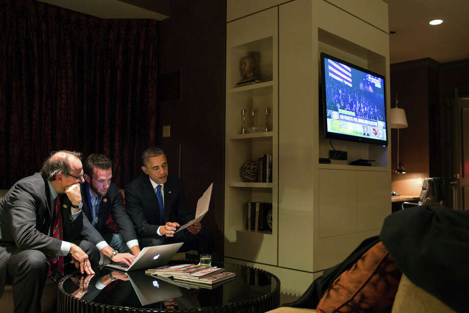 Nov. 6, 2012 (Election Day)While he waited for the concession call from Gov. Mitt Romney, the President worked on his acceptance speech with Jon Favreau, Director of Speechwriting, and campaign advisor David Axelrod at a Chicago hotel. (Official White House Photo by Pete Souza)