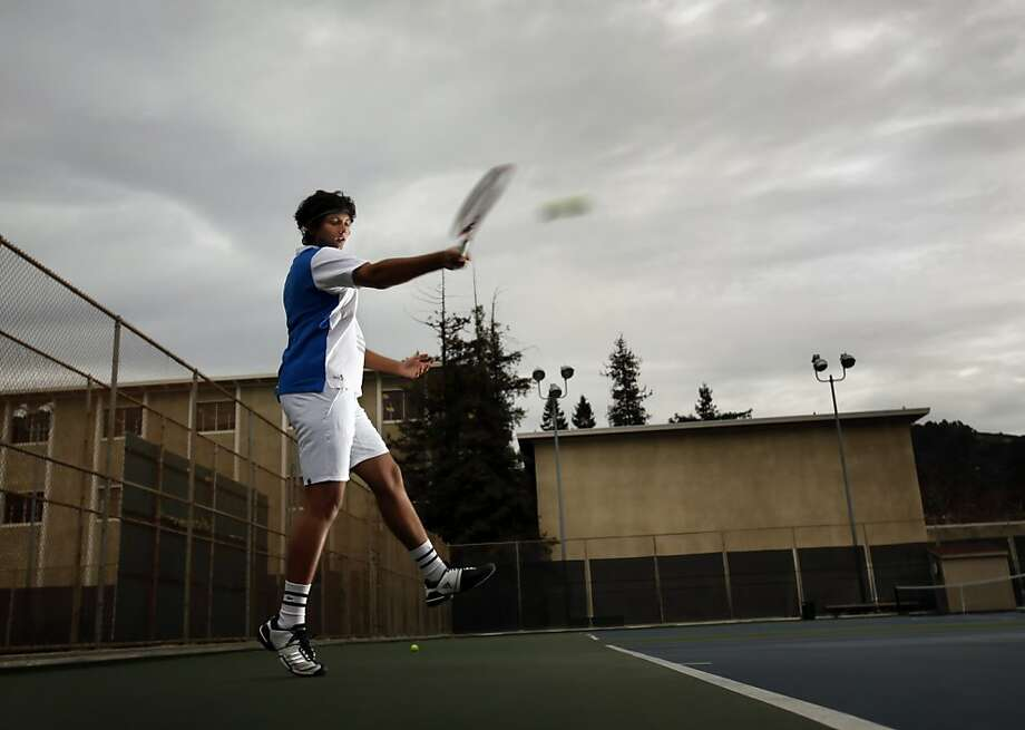 Swupnil Sahai is majoring in economics, applied mathematics and statistics - while minoring in Chinese studies. He says playing tennis helps him relax and focus, especially when studying for midterms and finals. Photo: Carlos Avila Gonzalez, The Chronicle