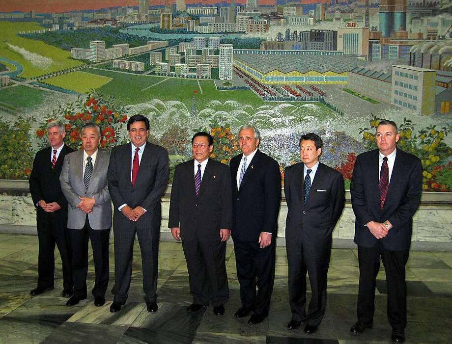 A delegation with then-New Mexico Gov. Bill Richardson (third from left) visits with North Korean legislator Kim Yong Dae (fourth from left) in April 2007. Richardson and Google's chairman plan another visit. Photo: Foster Klug, Associated Press