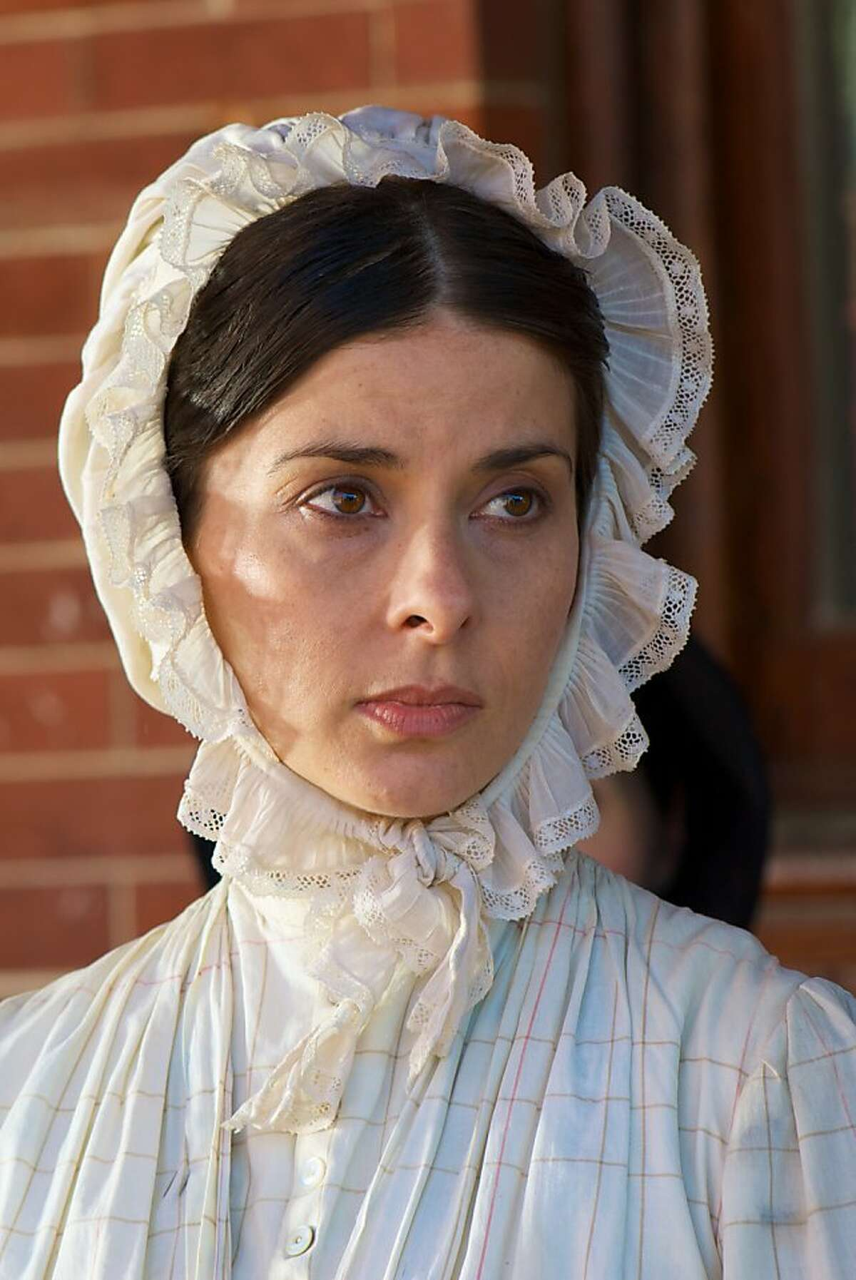 """Jeanine Serralles as Angelina GrimkŽ, a prominent Southern abolitionist in, """"The Abolitionists,"""" on American Experience."""