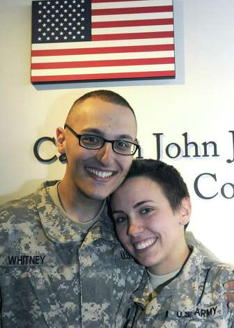 Army Privates, Sean Whitney of Niskayuna and Caitlin Murray of Nassau, married  Thursday Jan. 3, 2013, at Albany International Airport in Colonie, N.Y. (Michael P. Farrell/Times Union) Photo: Michael P. Farrell