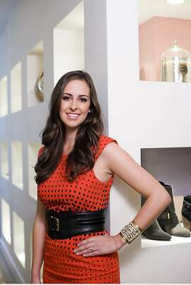 "Jesse Draper, who has an Internet TV show called ""The Valley Girl Show"" on which she interviews prominent Silicon Valley types, poses for portraits at ""Head Over Heels"", a boutique on Santa Cruz Ave. in Menlo Park, CA Friday December 7th, 2012."