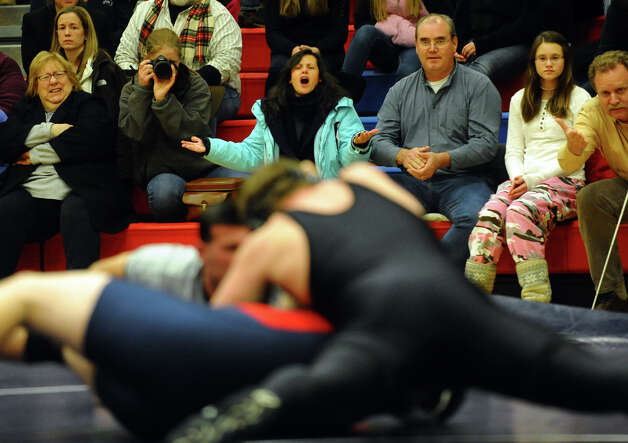 Wrestling action between Jonathan Law and Foran in Milford Conn. on Thursday January 3, 2012. Photo: Christian Abraham / Connecticut Post