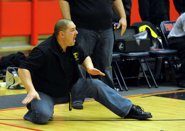 Law's Head Coach Matt Schoonmaker, during wrestling action against Foran in Milford Conn. on Thursday January 3, 2012. Photo: Christian Abraham / Connecticut Post