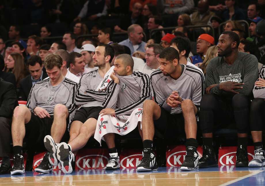 The Spurs bench waits for the end of the game late in the fourth quarter against the Knicks at Madison Square Garden on Jan. 3, 2013 in New York City. Photo: Bruce Bennett, Getty Images / 2013 Getty Images