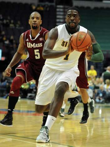 Siena's O.D. Anosike during their game against the University of Massachusetts at the Times Union Center in Albany, NY Wednesday Nov. 28, 2012. (Michael P. Farrell/Times Union) Photo: Michael P. Farrell / 00020242A
