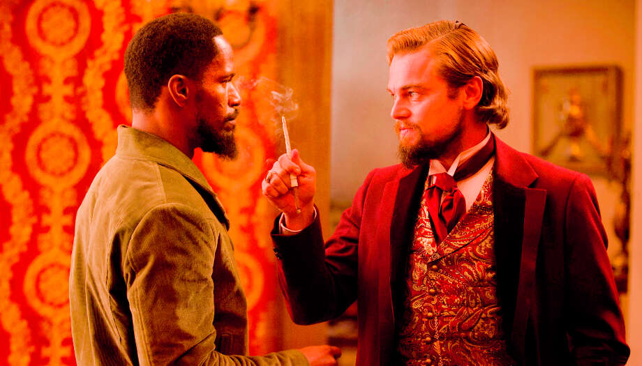 FILE - In this undated publicity file photo released by The Weinstein Company, from left, Jamie Foxx and Leonardo DiCaprio star in the film, Django Unchained, directed by Quentin Tarantino.  (AP Photo/The Weinstein Company, Andrew Coope, File) Mick LaSalle has said this film is appropriately rated R. Photo: Andrew Cooper, AP / The Weinstein Company