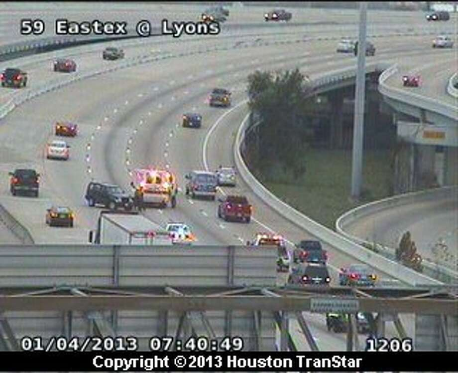 Traffic was snarled on the Eastex Freeway near I-10 after a 4-vehicle wreck Friday morning. Photo: Houston Transtar