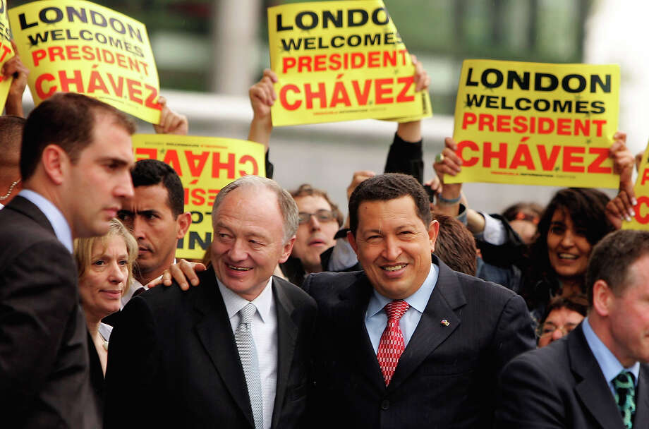 Venezuelan President Hugo Chavez is greeted by London Mayor Ken Livingstone at City Hall May 15, 2006 in London, England. Photo: Scott Barbour, Getty Images / 2006 Getty Images