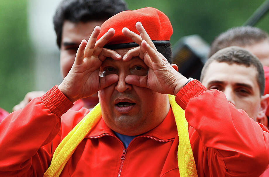Venezuelan President Hugo Chavez gestures during the opening rally of his campaign for re-election in Mariara, 120 km west of Caracas on July 1, 2012. Photo: JUAN BARRETO, AFP/Getty Images / 2012 AFP