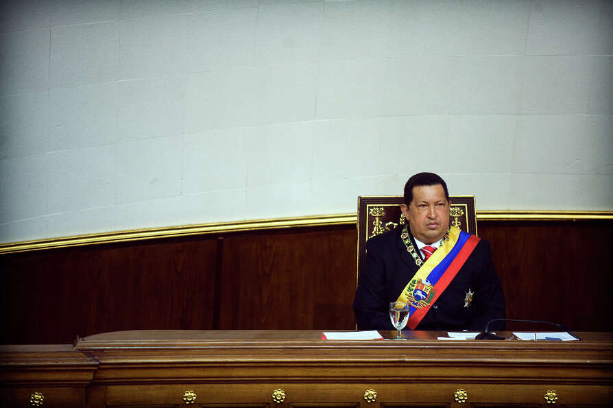 Venezuelan President Hugo Chavez at the National Assembly during Independence Day in Caracas on July