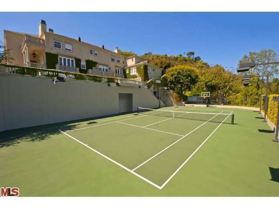 Lighted championship tennis court