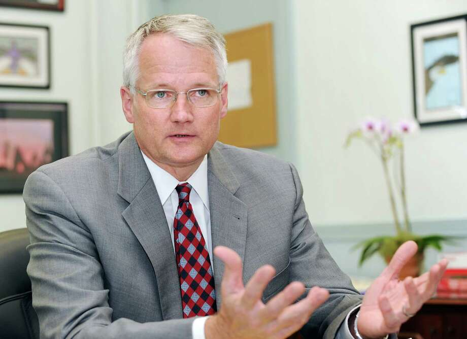 Superintendent of Schools William McKersie, shown here in his office at the Havemeyer Building in Greenwich in July 2012, revealed in a district-wide letter sent Thursday, Jan. 3, 2012, that the school district is considering the posting of armed guards in all of its public schools. Photo: Bob Luckey / Greenwich Time