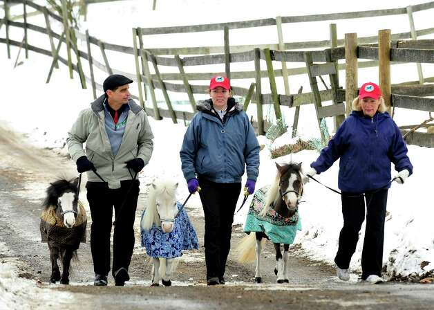 Jorge Garcia-Bengochea and therapy volunteers Jennifer Anfinsen, center, and her mom, Sally Anfinsen, right, walk with the Gentle Carousel Miniature Therapy Horses visiting The Ridge Equestrian Center in Newtown Friday, Jan. 4, 2012. Photo: Michael Duffy / The News-Times