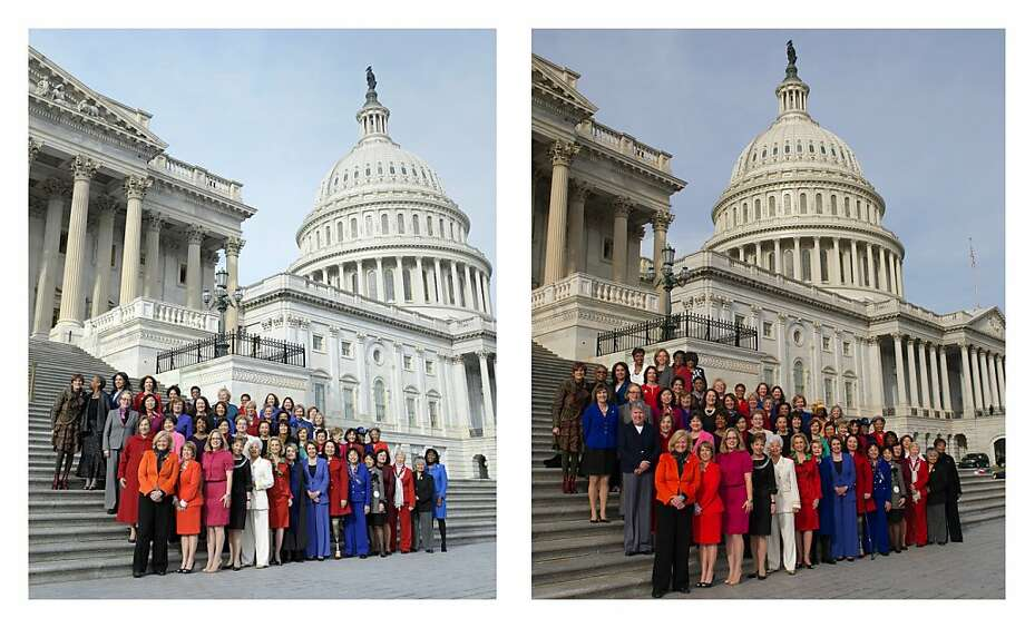 Thursday's Associated Press photo of female House Democrats, left, and an altered image from Nancy Pelosi's Flickr page. Photo: Associated Press