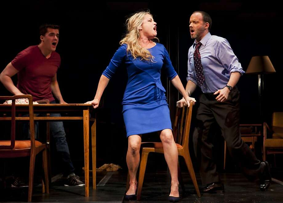 "Kendra Kassebaum (center) as bipolar mom Diana, with Joe Cassidy (right) as her husband Dan and Jonathan Shew as Gabe in ""Next to Normal"" at San Jose Rep Photo: Tim Fuller/Arizona Theatre Compa"
