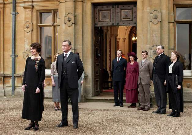 Downton Abbey Season 3 Sundays, January 6 - February 17, 2013 on MASTERPIECE on PBS  From left to right: Elizabeth McGovern as Lady Grantham, Hugh Bonneville as Lord Grantham, Dan Stevens as Matthew Crawley, Penelope Wilton as Isobel Crawley, Allen Leech as Tom Branson, Jim Carter as Mr. Carson, and Phyllis Logan as Mrs. Hughes   c. Carnival Film & Television Limited 2012 for MASTERPIECE  This image may be used only in the direct promotion of MASTERPIECE CLASSIC. No other rights are granted. All rights are reserved. Editorial use only. USE ON THIRD PARTY SITES SUCH AS FACEBOOK AND TWITTER IS NOT ALLOWED. Photo: Nick Briggs / © Carnival Film & Television Limited