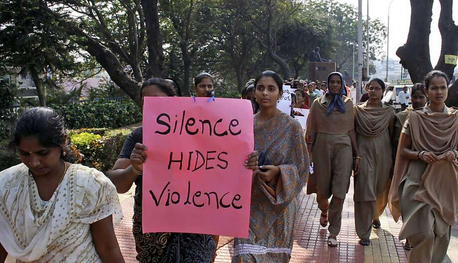 Indian women march on Thursday to mourn the death of a gang rape victim in Hyderabad. Photo: Mahesh Kumar A, Associated Press