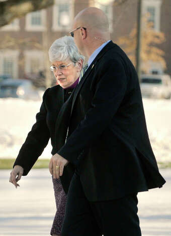Lt. Gov. Nancy Wyman enters Newtown Town Hall at Fairfield Hills Campus to meet with former Congresswoman Gabrielle Giffords and Newtown First Selectman Pat Llodra among other officials on Friday, Jan. 4, 2013. Photo: Jason Rearick / The News-Times