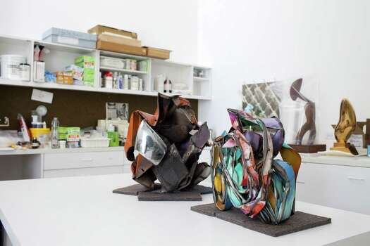 Small sculptures by John Chamberlain, from a collection that also includes monumental works, were recently in the Menil's lab for treatment. Photo: Eric Kayne / © 2012 Eric Kayne