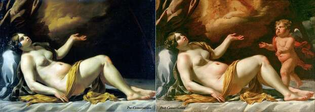 """Antonio Carneo's """"The Death of Rachel"""" (circa 1660-70, oil on canvas, the Suida-Manning Collection) before, left, and after restoration. Photo: Blanton Museum Of Art"""
