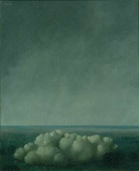 """Using X-ray imaging, Menil Collection conservators recently discovered that underneath René Magritte's 1937 """"The Song of the Storm,"""" left, lay an early version of """"The Pleasure Principle (Portrait of Edward James),"""" which he re-created on another canvas. Photo: Menil Collection"""