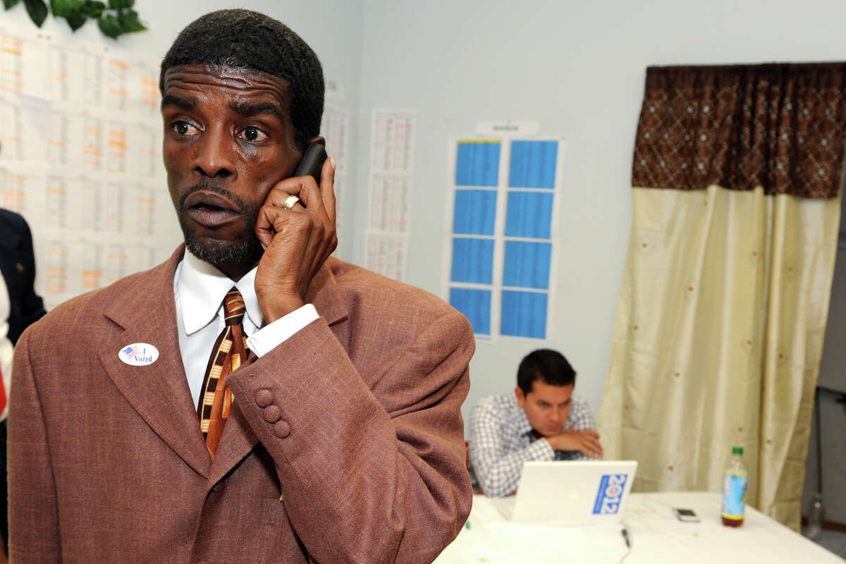 Ernest Newton listens to returns at his campaign headquaters, in Bridgeport, Conn. on primary night, Aug. 14th, 2012. Newton lost his democratic bid for the 23rd State Senate seat.