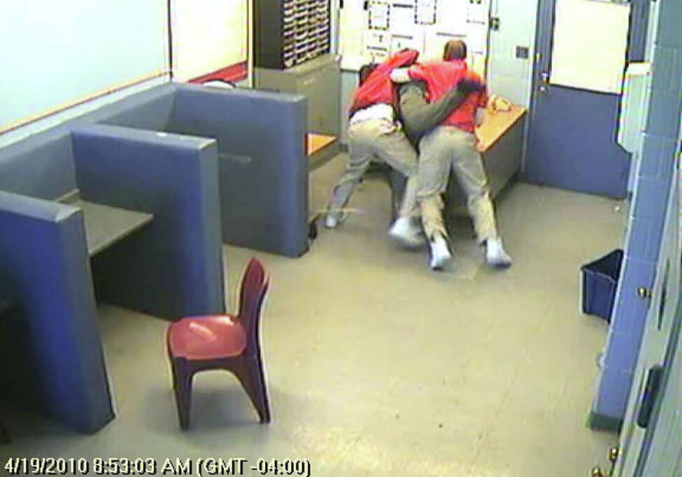 Inmates attack a staff member at Goshen Secure Center on April 19, 2010. (OCFS)