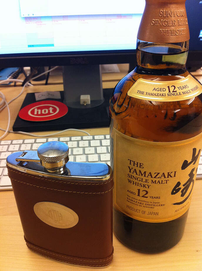 "WHISKY FROM A FLASK. Back in the day — and by ""the day"" we mean until the 1980s — professionals kept this in their desks for quick relief. Dan Harrelson/Flickr Creative Commons"