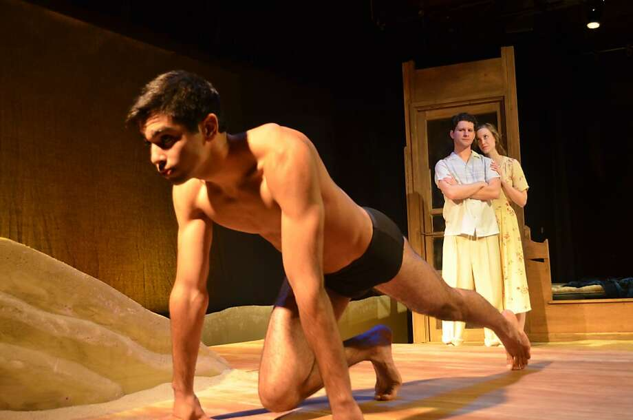 August (Aaron Wilton) and Clare (Gwen Kingston) admire the Adonis-like Kip (Kayal Khanna) in a Tennessee Williams production that's semi-fictionalized, semiautobiographical and rarely performed. Photo: Gilbert Johnson