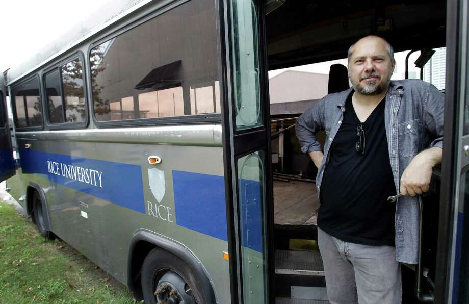 Rice University art professor Christopher Sperandio's Cargo Space project will turn an old shuttle bus into an RV for artists, architects and even scientists to travel Houston and the country together. Photo: Melissa Phillip, Staff / © 2012 Houston Chronicle