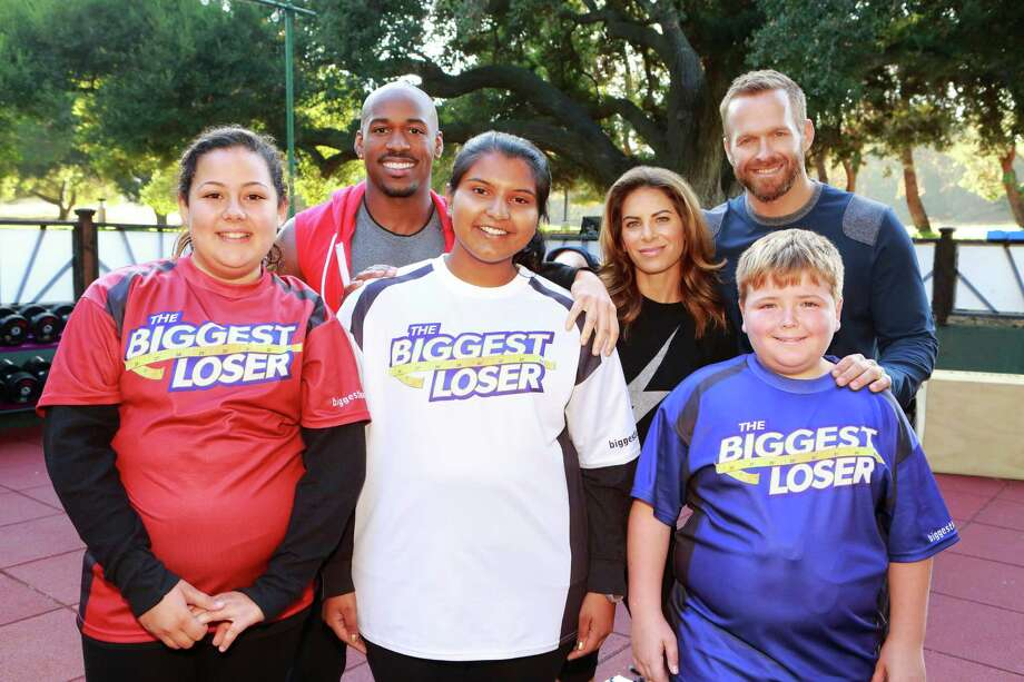 "THE BIGGEST LOSER -- Episode 1402 -- Pictured: (l-r) Lindsay Bravo, Dolvett Quince, Sunny Chandrasekar, Jillian Michaels, Bob Harper, Noah ""Blingo"" Grey -- Photo: NBC, Trae Patton/NBC / 2012 NBCUniversal Media, LLC"