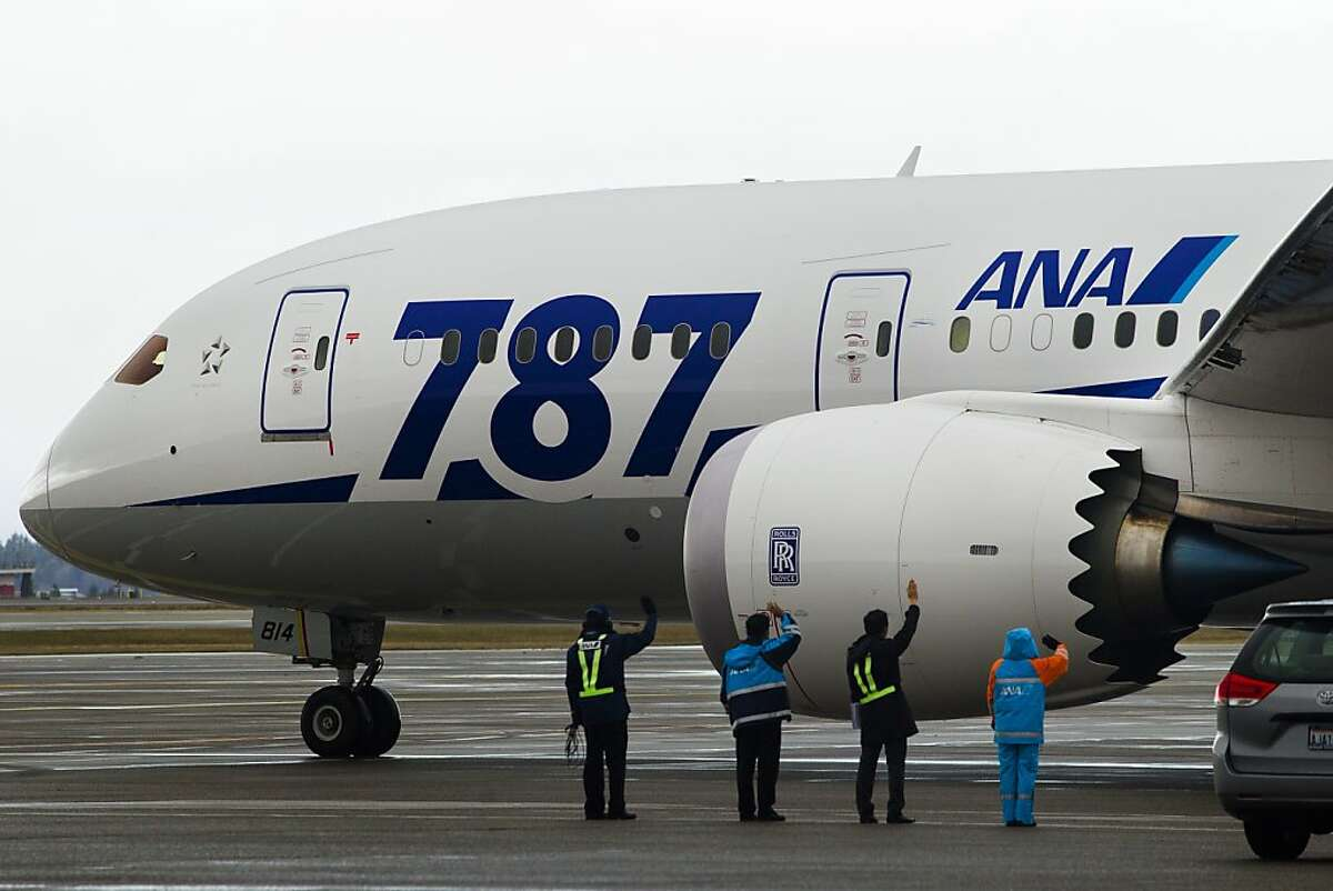 122712_Dreamliner_SFC_003.jpg Boeing's breakthrough aircraft, the 787 Dreamliner, is waved off by ANA personnell for a late morning flight to Tokyo Thursday, Dec. 27, 2012, departing from SeaTac International Airport in SeaTac, WA. Commercial flights from San Francisco begin the week of Jan. 6 and link Mineta San Jose International Airport - and thus Silicon Valley - with Tokyo and the tech world of Japan. All Nippon Airways, the global launch customer for the Dreamliner, is the carrier. By JORDAN STEAD/SPECIAL TO THE CHRONICLE