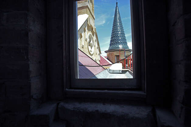 One of the replaced spires shows from the turret level of the main building during a tour after H.E.B. presented a donation to Our Lady of the Lake University on Thursday, May 6, 2010. Tom Reel/Staff Photo: TOM REEL, Express-News / © 2010 San Antonio Express-News