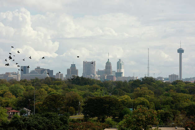 A view of the San Antonio skyline from Our Lady of the Lake University Main Building, Thursday, Nov. 11, 2010. JERRY LARA/glara@express-news.net Photo: JERRY LARA, Express-News / glara@express-news.net