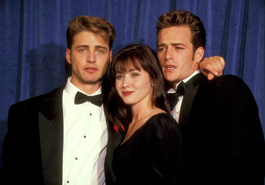 "Shannen Doherty (center) didn't last long on ""90210,"" but fans of the show will always remember her as peevish Brenda Walsh. With Jason Priestley (L) and Luke Perry (R).  Photo: Ron Galella, WireImage / Ron Galella Collection"