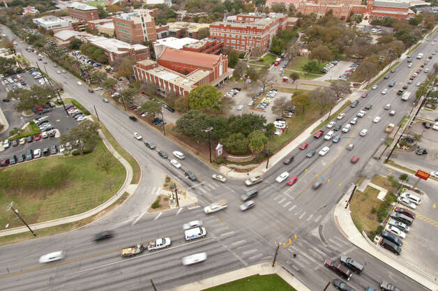 With the University of the Incarnate Word in the background, Broadway St. (lower left to upper right) and Hildebrand intersect. Photo: Express-News
